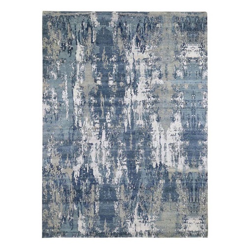 Blue Abstract Design Wool and Pure Silk Hand Knotted Oriental Rug