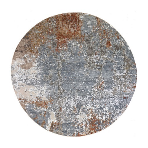 Hi-Low Pile Denser Weave Hand Knotted Blue Abstract Design Wool and Silk Round Oriental Rug