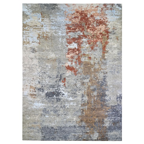 Persian Knot with Abstract Design Gray Wool and Silk Denser Weave Hand Knotted Oriental Rug