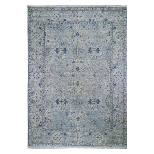 Blue Distressed Oushak Pure Silk with Textured Wool Hand Knotted Oriental Rug