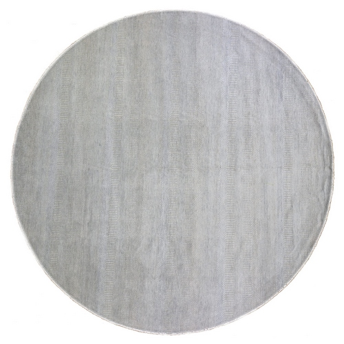 Silver Grass Design Wool and Silk Hand Knotted Round Oriental Rug