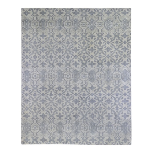 Hand Knotted Arts and Crafts Pure Wool Gray Modern Oriental Rug