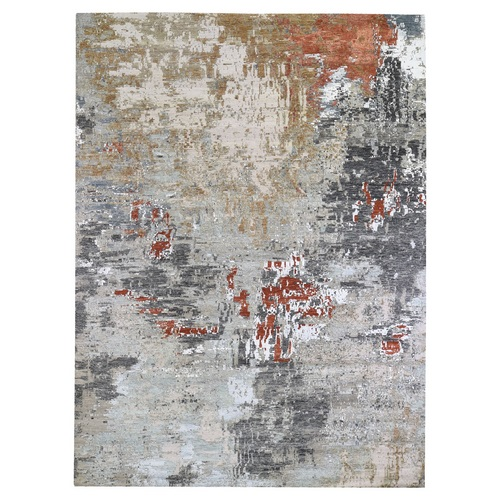 Gray Persian Knot with Abstract Design Wool and Silk Denser Weave Hand Knotted Oriental Rug