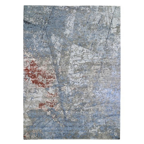 Wool and Silk Silver-Blue Persian Knot with Abstract Design Denser Weave Hand Knotted Oriental Rug