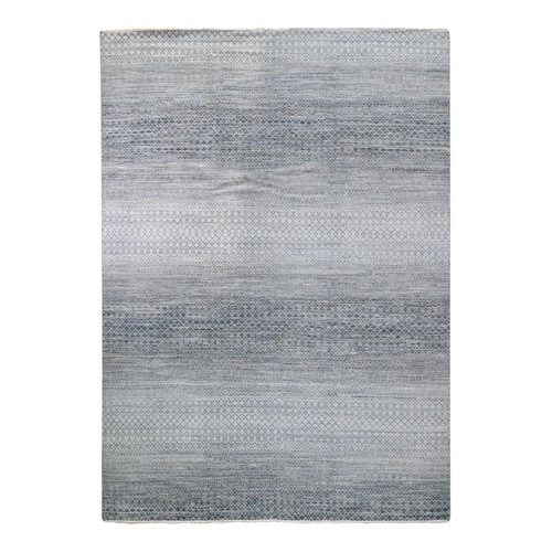 Chiaroscuro Collection Hand Knotted Organic Wool Thick and Plush Denim and Gray Modern Oriental Rug