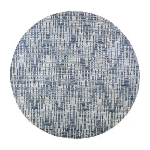 Hand Knotted Blue Pure Silk and Textured Wool Round Zigzag with Graph Design Oriental Rug