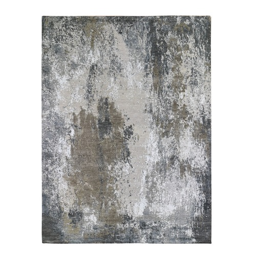 Denser Weave Persian Knot with Abstract Design Wool and Silk Gray Hand Knotted Oriental Rug