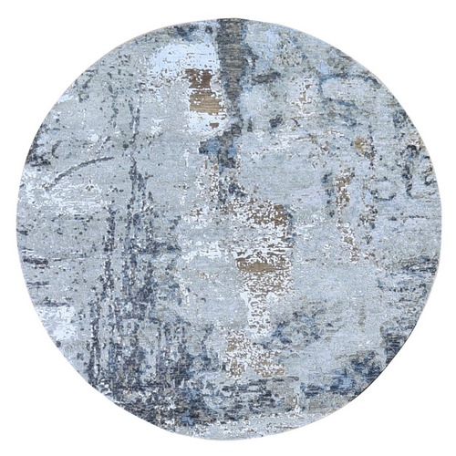 Hi-Low Pile Denser Weave Hand Knotted Silver Abstract Design Wool and Silk Round Oriental