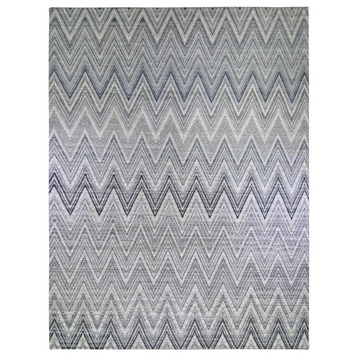 Oversized Gray-Blue Chevron Design Textured Wool and Pure Silk Hand Knotted Oriental