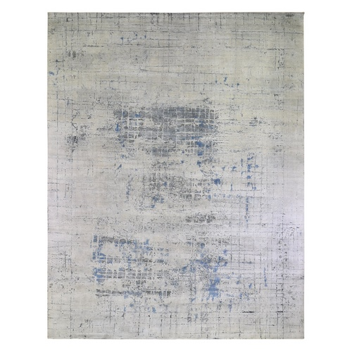 Gray-Blue Pure Silk with Textured Wool Avant-Garde Design Extra Large Hand Knotted Oriental Rug