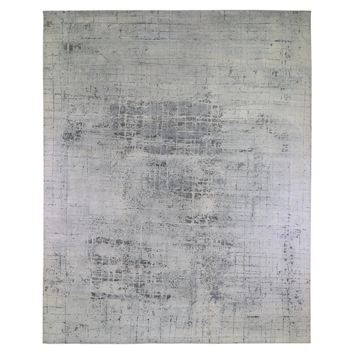 Gray-Ivory Pure Silk with Textured Wool Avant-Garde Design Extra Large Hand Knotted Oriental Rug