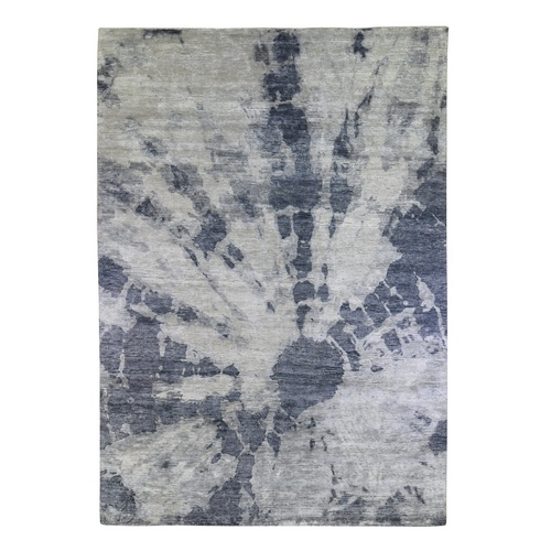 Gray Washed Out Tie-dye Design Modern Pure Silk Hand Knotted Oriental Rug