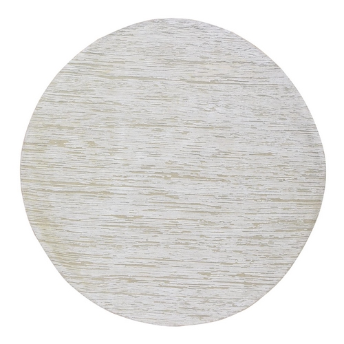 Ivory Silk with Textured Wool Hi-Low Pile Hand Knotted Round Oriental Rug