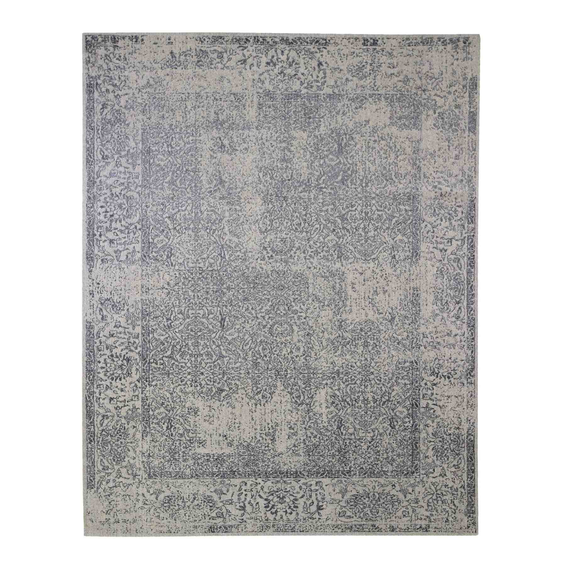 Gray Fine jacquard Hand Loomed Erased Design Wool and Silk Oriental Rug