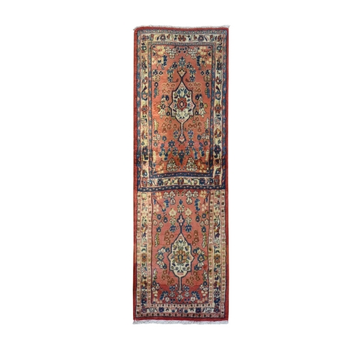 Vintage Persian Mahal Rug on Rug Design Peach Pure Wool Hand Knotted Wide Runner Oriental