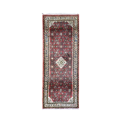 Red Vintage Persian Hamadan Fish Design Short Runner Hand Knotted Organic Wool Oriental