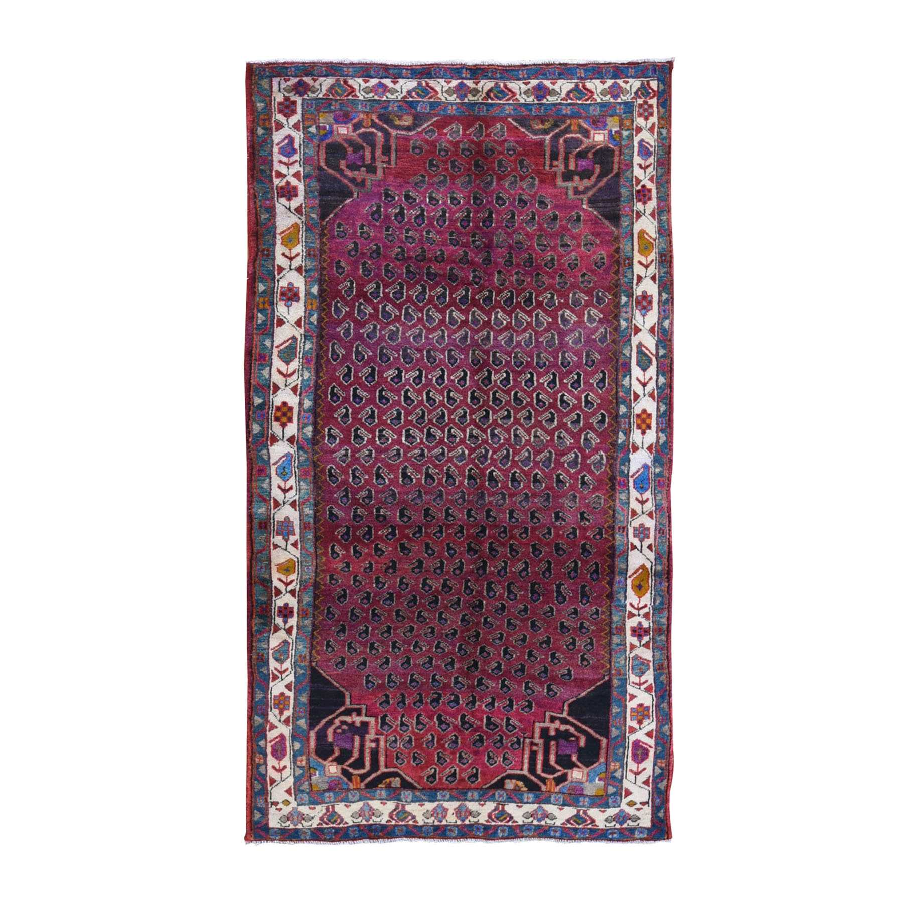 Purple Vintage Persian Hamadan Full Pile with Boteh Design Organic Wool Hand Knotted Oriental