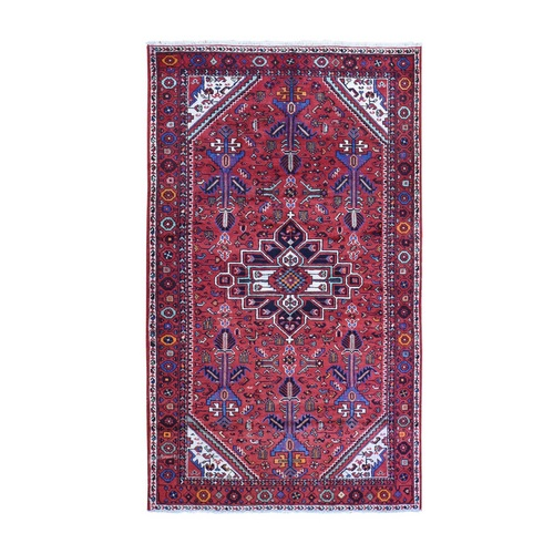 Hand Knotted Vintage Persian Hamadan with Geometric Flower Bouquets Pure Wool Oriental
