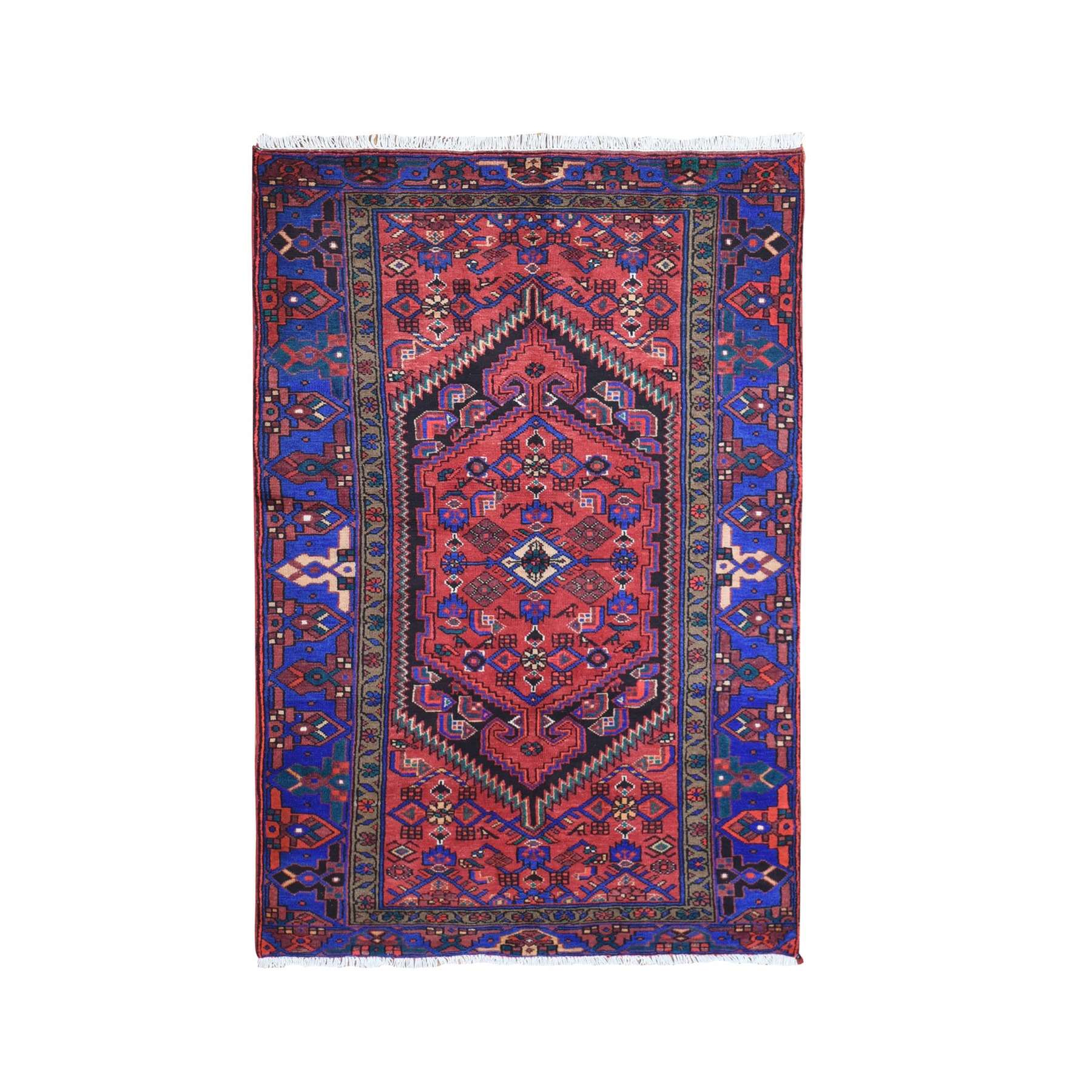 Vivid Colors Old Persian Hamadan Nomadic Design Hand Knotted Natural Wool Oriental