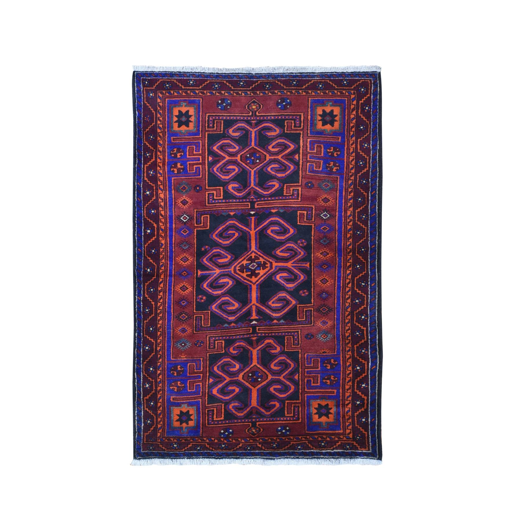 Tribal Design Vintage Persian Hamadan with Vivid Colors Natural Wool Hand Knotted Oriental