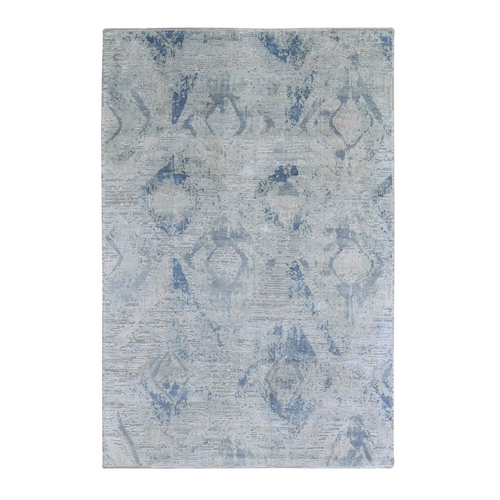 Ivory Large Elements with Pastels Modern Silk with Textured Wool Hand Knotted Oriental Rug