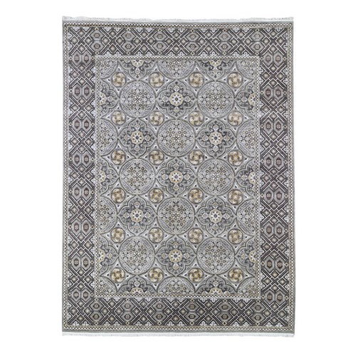 Textured Wool and Silk Mughal Inspired Medallions Design Hand Knotted Brown Oriental Rug