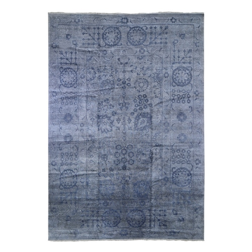 Charcoal Gray Plant Base Silk Broken Tabriz Design Hand Knotted Oriental Rug