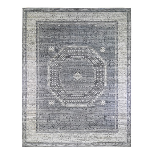 Oversized Pure Silk with Textured Wool Charcoal Gray Mamluk Design Hand Knotted Oriental Rug