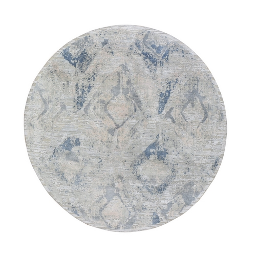 Ivory Large Elements with Pastels Modern Round Silk with Textured Wool Hand Knotted Oriental Rug