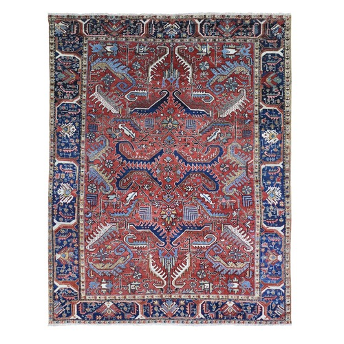 Antique Persian Heriz Geometric All Over Design Pure Wool Hand Knotted Oriental