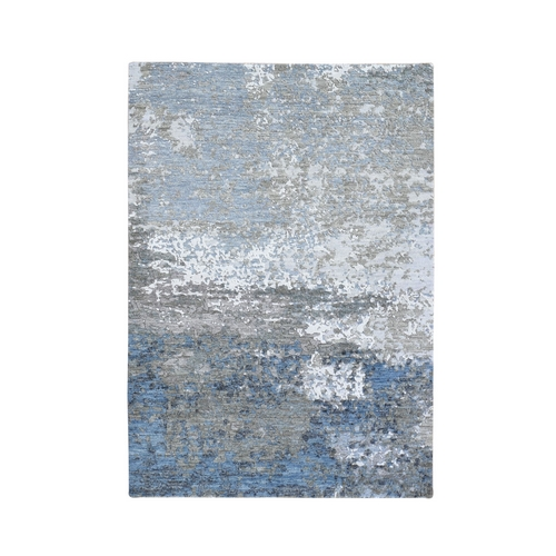 Blue Abstract Design Wool and Silk Hi-Low Pile Denser Weave Hand Knotted Oriental Rug