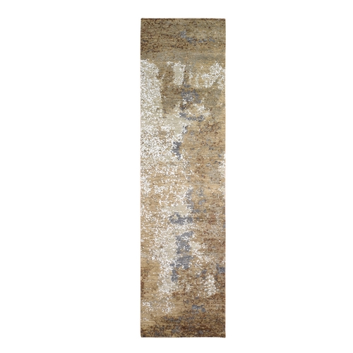 Brown Abstract Design Wool and Silk Hi-Low Pile Denser Weave Hand Knotted Runner Oriental Rug