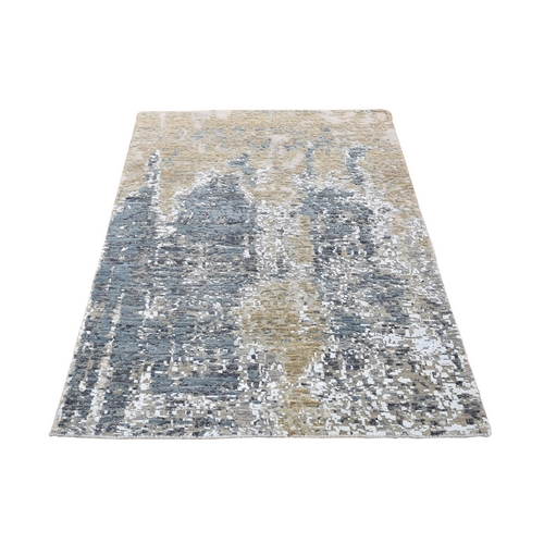 Gray Abstract Design Wool and Silk Hi-Low Pile Denser Weave Hand Knotted Oriental Rug