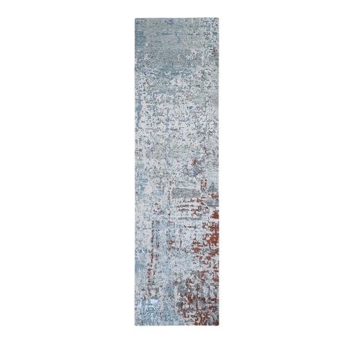 Abstract Design Wool and Silk Hi-Low Pile Blue Denser Weave Hand Knotted Runner Oriental Rug