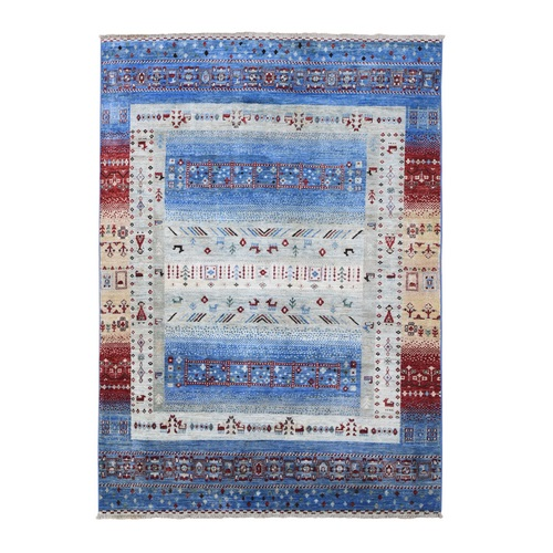 Blue Kashkuli Gabbeh with Small Animal Figurines Natural Wool Hand Knotted Nomadic Oriental Rug