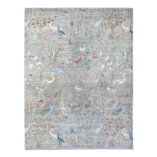 Gray Peshawar Birds of Paradise Pure Wool Hand Knotted Oriental Rug