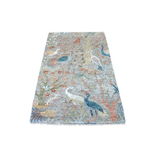 Organic Wool Gray Peshawar Birds of Paradise Hand Knotted Oriental Rug