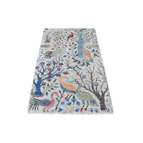 Gray Peshawar Birds of Paradise Natural Wool Hand Knotted Oriental Rug