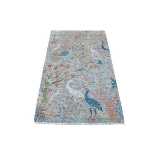 Natural Wool Hand Knotted Gray Peshawar Birds of Paradise Oriental Rug