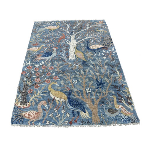 Natural Wool Peshawar Birds of Paradise Denim Blue Hand Knotted Oriental Rug