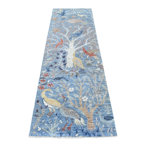 Peshawar Birds of Paradise 100% Wool Denim Blue Hand Knotted Oriental Rug