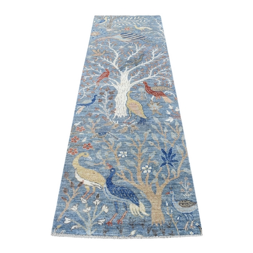 Denim Blue Peshawar Birds of Paradise Natural Wool Hand Knotted Oriental Rug