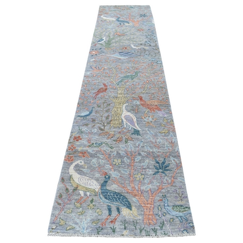Pure Wool Gray Peshawar Birds of Paradise Hand Knotted Oriental Rug