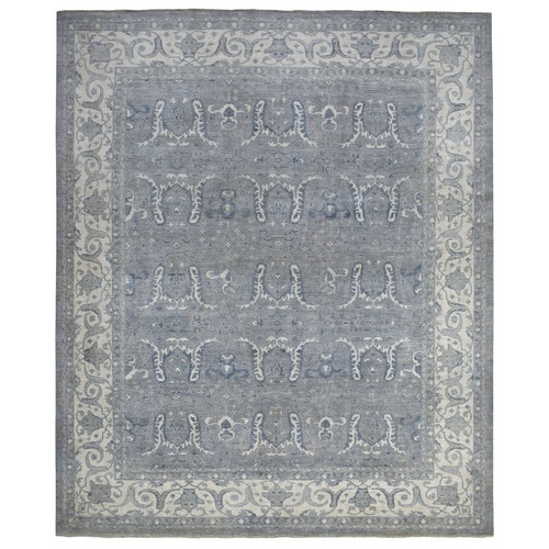 Oversized Soft and Vibrant Wool Hand Knotted Gray Angora Oushak Oriental Rug