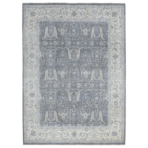 Gray Stone Wash Soft and Vibrant Wool Hand Knotted Angora Oushak Oriental Rug